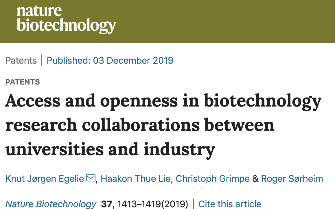 CIP Research Article On Access And Openness In Nature Biotechnology