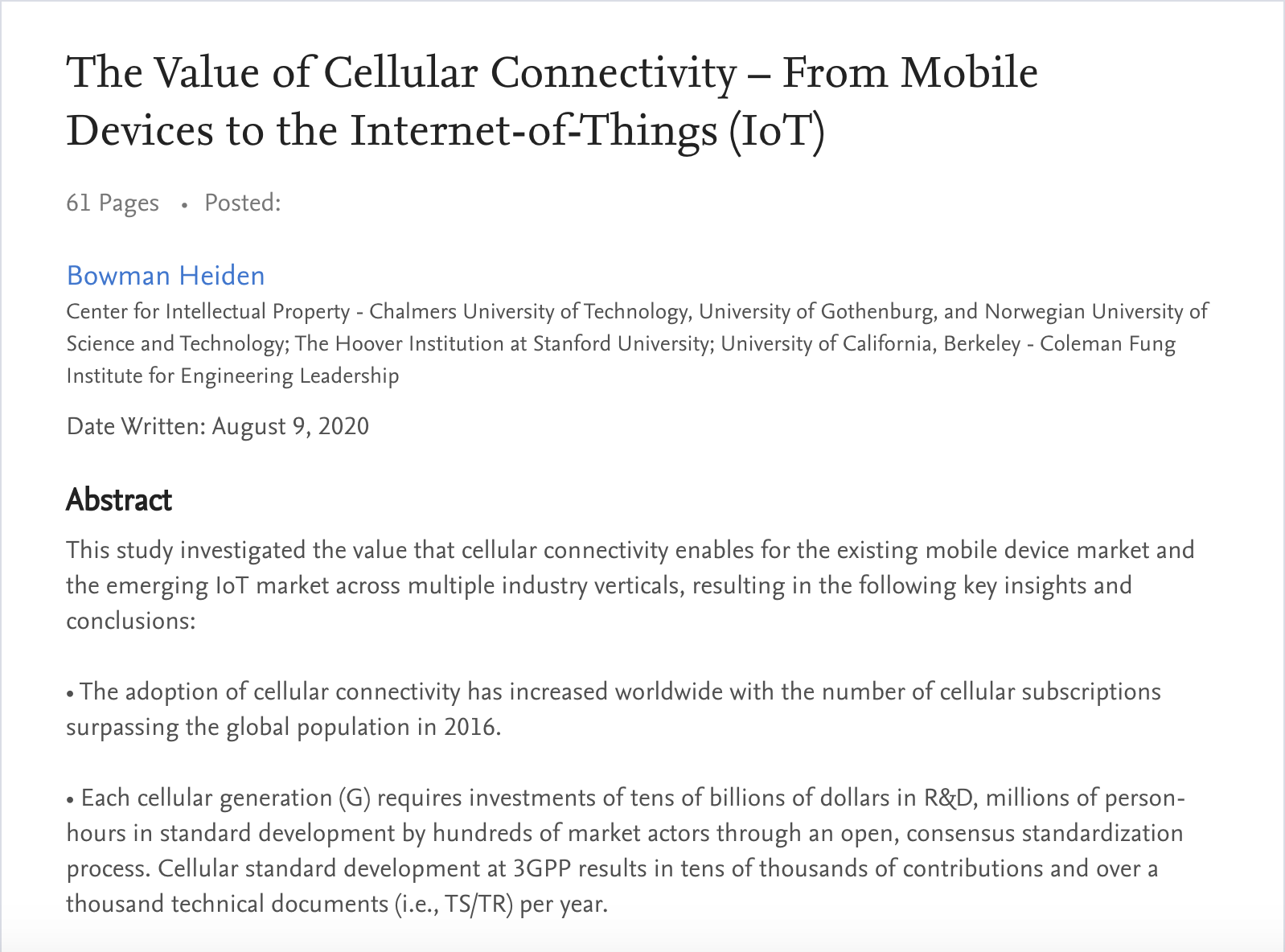 Bowman Heiden's Latest Paper On The Value Of Cellular Connectivity