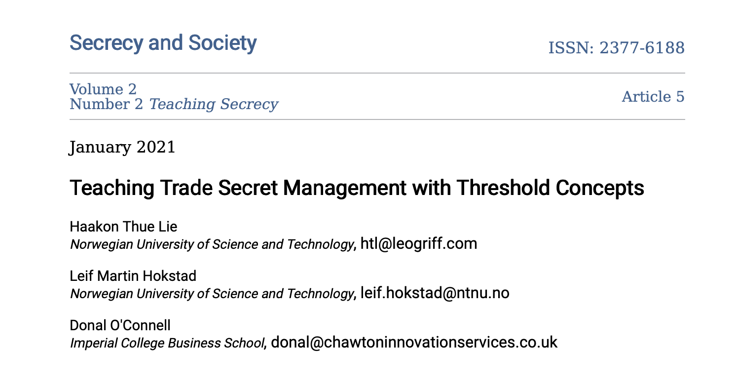New Article On Trade Secrets Published On The Journal Secrecy And Society By Haakon Thue Lie, Leif Martin Hokstad, And Donal O'Connell
